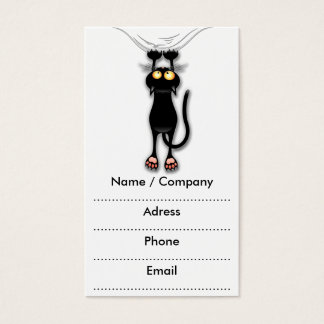 Fun Black Cat Falling Down Business Cards