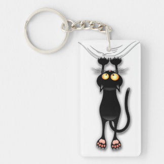 Fun Black Cat Falling Down Keychain