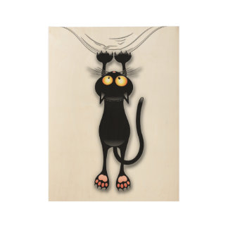 Fun Black Cat Falling Down Wood Poster