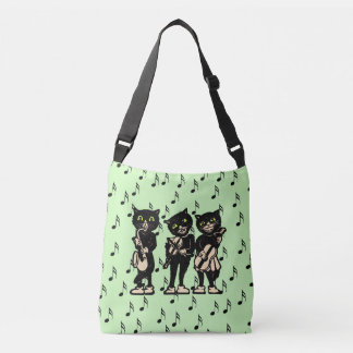 Fun black Cats Playing Fiddle Saxophone Guitar Crossbody Bag