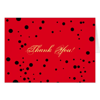 Fun Black Dots On Red Ladybug Patterns Thank You Card