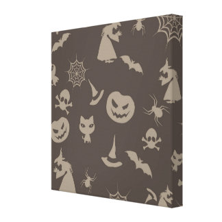 Fun Black Grey Halloween Design Stretched Canvas Prints
