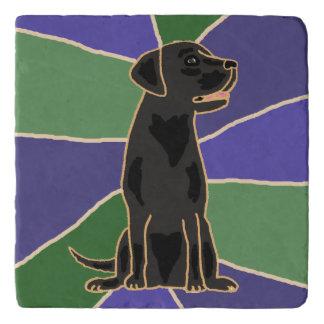 Fun Black Labrador Retriever Art Stone Trivet