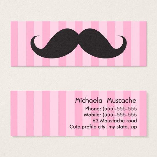 Fun black moustache on pink stripes business card