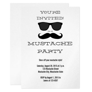 Fun Black Mustache and Sunglasses Party Invitation
