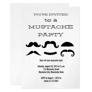 Fun Black Mustache Party Invitation