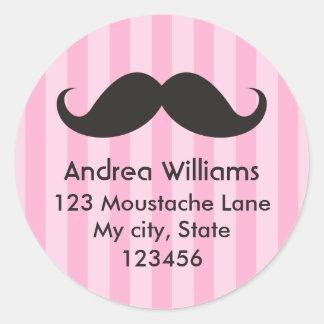 Fun black mustache pink stripes address label stickers