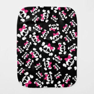 Fun black skulls and bows pattern burp cloth