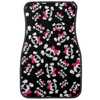 Fun black skulls and bows pattern car mat