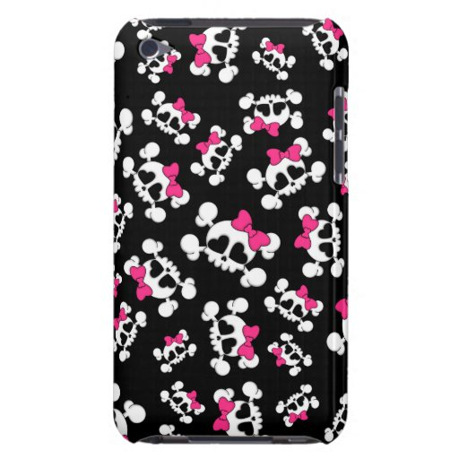 Fun black skulls and bows pattern barely there iPod covers