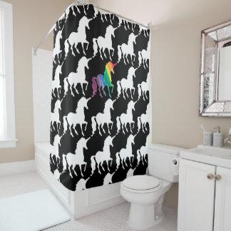 Fun Black & White Rainbow Unicorn Pattern Pretty Shower Curtain