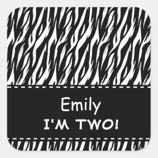 Fun Black White Zebra Custom Second Birthday Square Sticker
