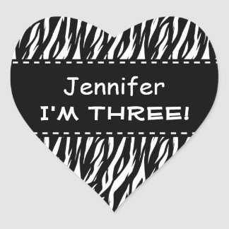 Fun Black White Zebra Custom Third Birthday Heart Sticker