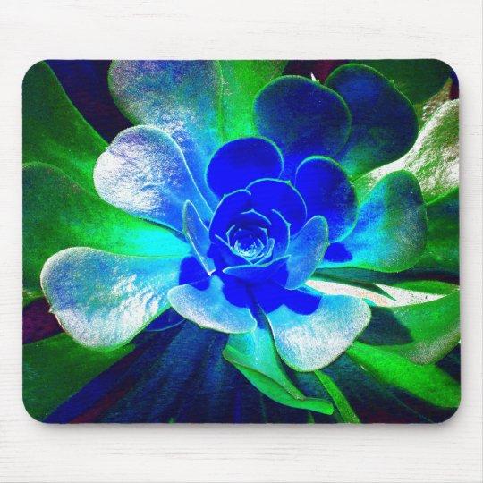 Fun Blue and Green Art Flower Mouse Mat