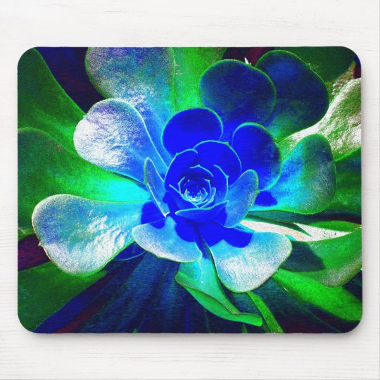Fun Blue and Green Art Flower Mouse Pad