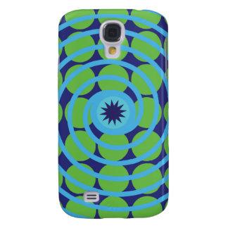 Fun Blue and Green Swirl Spiral Polka Dots Pattern Samsung Galaxy S4 Covers
