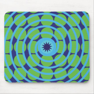 Fun Blue and Green Swirl Spiral Polka Dots Pattern Mouse Pad