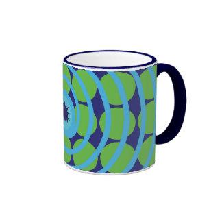 Fun Blue and Green Swirl Spiral Polka Dots Pattern Coffee Mug
