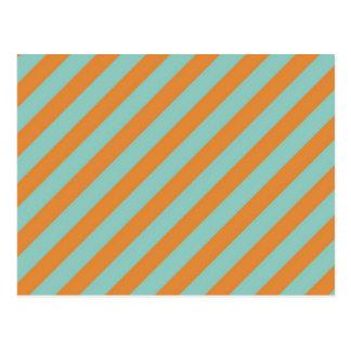 Fun Blue and Orange Diagonal Stripes Pattern Postcard