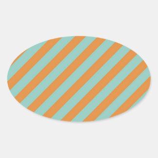 Fun Blue and Orange Diagonal Stripes Pattern Oval Sticker