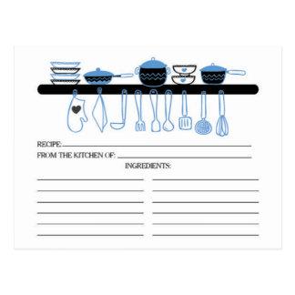 Fun Blue Kitchen Gadgets Bridal  Recipe Cards