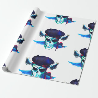 Fun Blue Pirate Skull Wrapping Paper