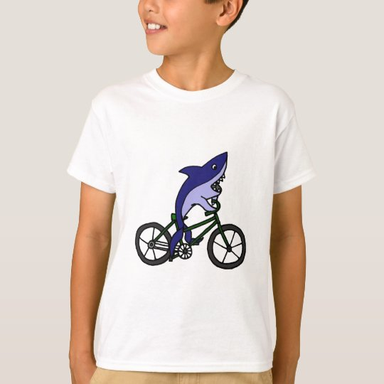 Fun Blue Shark Riding Green Bicycle T-Shirt