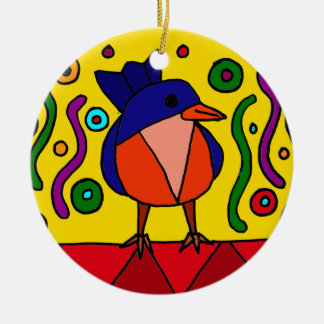 Fun Bluebird Folk Art Design Christmas Ornament
