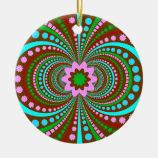 Fun Bold Pattern Brown Pink Teal Crazy Design Christmas Ornament