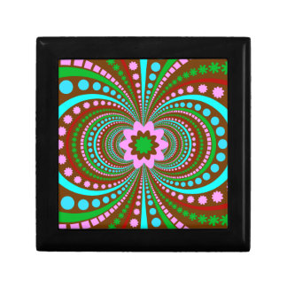 Fun Bold Pattern Brown Pink Teal Crazy Design Keepsake Boxes