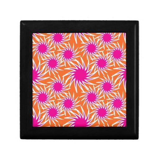 Fun Bold Spiraling Wheels Hot Pink Orange Pattern Keepsake Box
