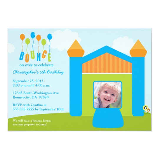 Fun bounce house birthday party photo invitation