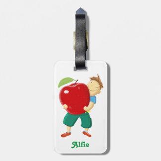 Fun Boy With Apple Kids Bag Tags