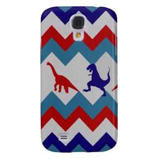 Fun Boys Dinosaurs Red Blue Chevron Pattern Galaxy S4 Case