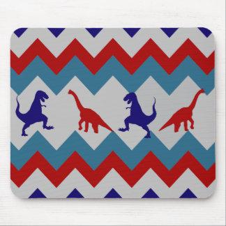 Fun Boys Dinosaurs Red Blue Chevron Pattern Mouse Pad