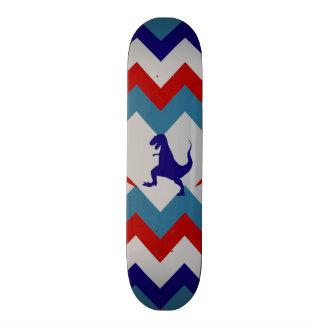 Fun Boys Dinosaurs Red Blue Chevron Pattern Skate Decks