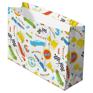 Fun boys race car pattern party gift bag