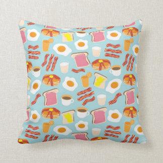 Fun Breakfast Food Illustrations Pattern Cushion