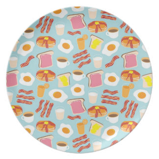Fun Breakfast Food Illustrations Pattern Dinner Plate