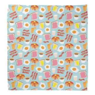 Fun Breakfast Food Illustrations Pattern Kerchiefs