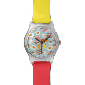 Fun Breakfast Food Illustrations Pattern Wristwatches