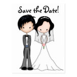 Fun Bride and Groom Cartoon Save the Date Post Card