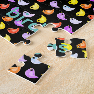 Fun bright colorful birds pattern jigsaw puzzle
