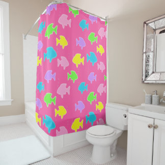 Fun Bright Colorful Glowing Pastel Fish Pattern Shower Curtain
