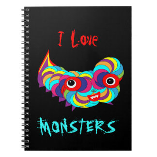 Fun Bright Colorful I Love Monsters Picture Notebook