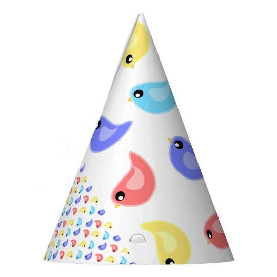 Fun bright colourful birds party hat