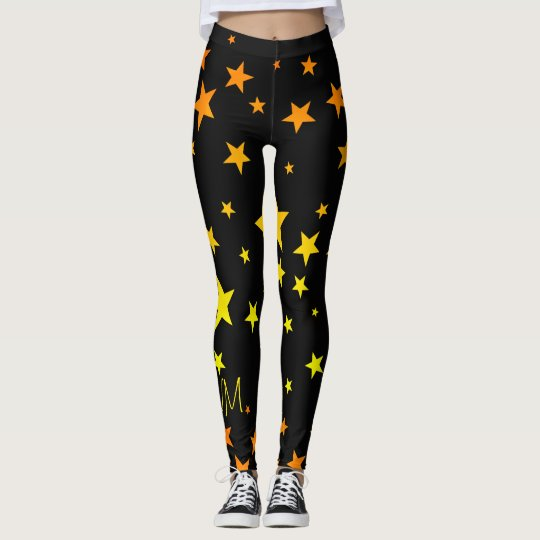 Fun Bright Orange and Yellow Star Pattern Leggings