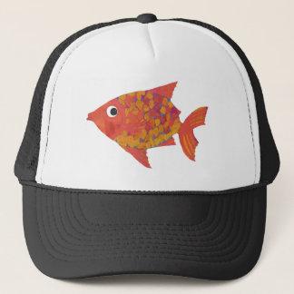 Fun Bright Orange Fish Black and White Trucker Cap
