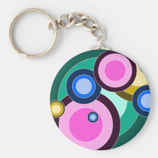 Fun & Bright Retro Circles Pattern Key Chains