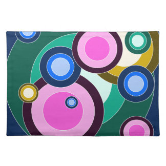 Fun & Bright Retro Circles Pattern Place Mats